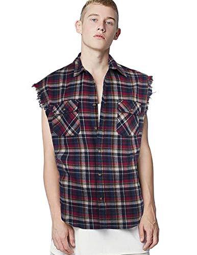 Rot-kariertes Button-down-shirt (Nutexrol Herren Ärmellose Kariert Flanell Hemden Freizeithemd aus Baumwolle Sleeveless T-Shirt 100% Baumwolle, XXL)