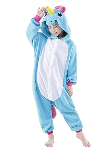 Pyjamas Kinder Kostüm Jumpsuit Tier Schlafanzug Cosplay Karneval Fasching (XXL: für Höhe 135-144 cm, blau2)
