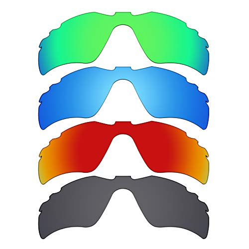 Mryok polarisierte Ersatzgläser für Oakley Radar Path Sonnenbrillen mit Belüftungsöffnung, Stealth Black/Fire Red/Ice Blue/Emerald Green, 4 Paar