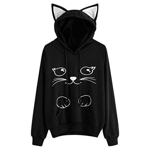 Hoodie Pullover Damen Btruely Herbst Mode Hooded Sweatshirt Mädchen Katze Pullover (XXL, Schwarz) (Crew Jeans Gestreifte)