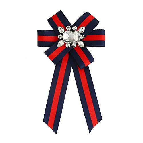 Wantschun Damen Schleifenbrosche Streifen Strass Perle Schmuckbrosche Kleid Blusen Brosche Design A: Rot+Blau