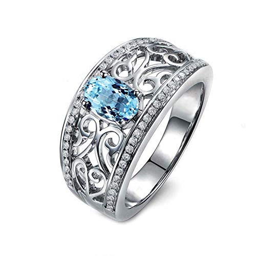 Anyeda Ring Mädchen Silber 925 Ovale Form 6X8Mm Blau Topas Ringe Filigran Ring Silber Herz Damen Ringgröße 57 (18.1)
