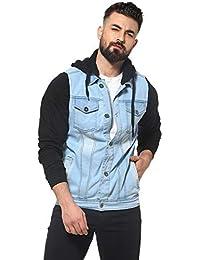 Campus Sutra Denim Hood Front Pocket Button Closure Jacket