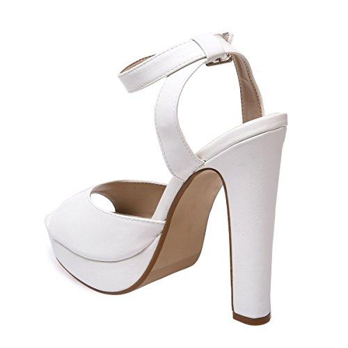 La Modeuse Sandales en Simili Cuir Blanc