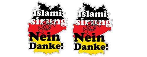 Deutschland Germany Anti Islamierung Flüchtlinge Einwanderung Aufkleber Sticker + Gratis Schlüsselringanhänger Kokosnuss-Schale + Auto Motorrad Laptop Mittelfinger Anti-Einwanderung AfD Anti Merkel