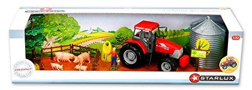 Starlux - Coffret Tracteur MC Cormick avec Silo, cochons et Nombreux Accessoires - Gamme Ferme - 1:32e
