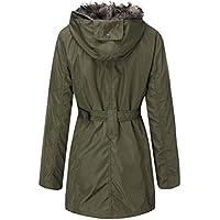 SoonerQuicker Mantel Damen Lange Kapuzenpullover Mantel Winter Warme Wolle Reißverschluss Mantel Baumwolle Mantel Outwear