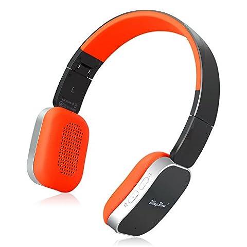 KingYou On-Ear Bluetooth Kopfhörer Faltbare Drahtlose Stereo Headset mit Mikrofon und Wired Modus für iPhone, iPad, iPod, Android smartphone, Laptop und MP3-Player(HD-01 Schwarz+Orange)
