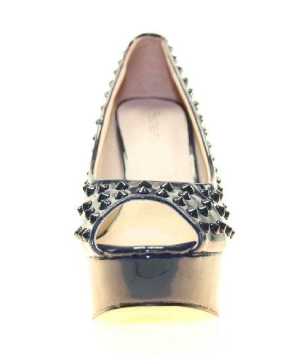 More Styling , chaussures compensées femme Bleu - Bleu foncé