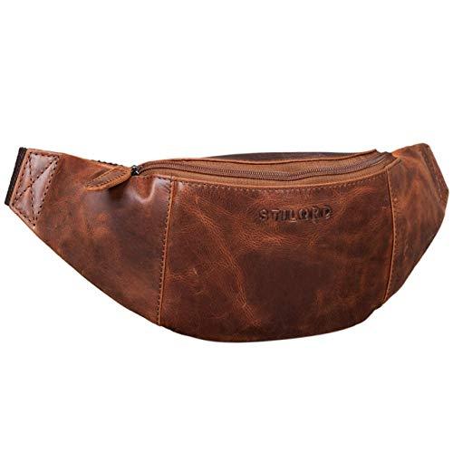 STILORD 'Shawn' Riñonera Cuero Grande Vintage para Festivales Deporte Bolso Cintura Bum Bag auténtica Piel, Color:Antico - Used