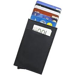 RFID Carte de crédit Titulaire de Automatique Pop-up En aluminium Blocage Étui en cuir Entreprise Slim Mini Porte-monnaie (001Noir+)