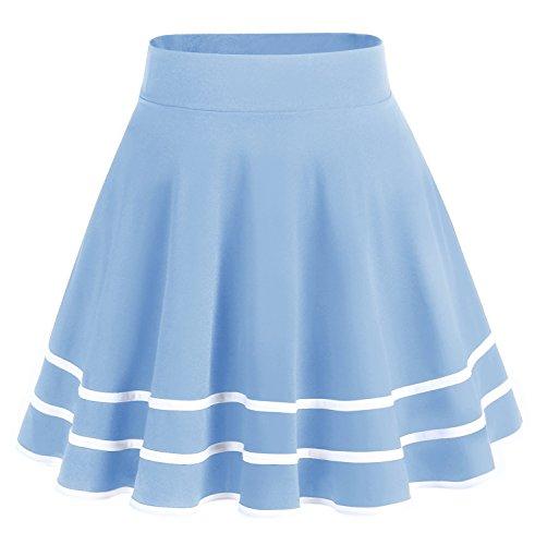 Dresstells Damen Basic Solide vielseitige Dehnbar Informell Mini Glocken Rock Light Blue-White M