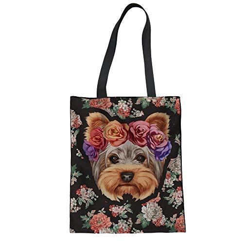 ZXXFR Einkaufstasche Faltbar Cute Flower Yorkshire Frauen Dauerhafte Magazin Leger Handtaschen Hund Mädchen Umweltfreundliche Behälter, Yq 715 Z 22. - Sportliche Travel Tote