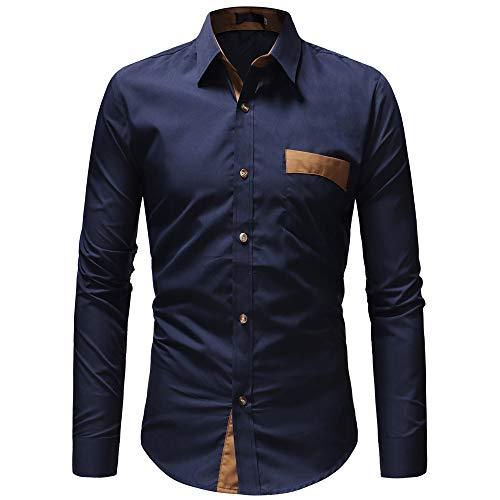 BEIXUNDIANZI Hemd Herren Langarm Regular Fit Stehkragen Einfarbig Freizeithemd für Männer Langarmshirt Leinenshirt aus Baumwollmischung Freizeit Leicht für F-Navy M