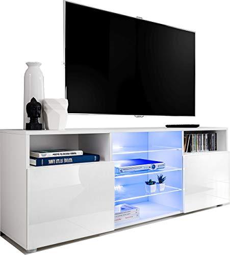 ExtremeFurniture T38 TV Lowboard, Karkasse in Weiß Matt/Front in Weiß Hochglanz mit LED in Blau