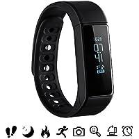 Bluetooth Fitness Tracker, OMorc Sport Armband I5 Plus SmartWatch OLED Uhr Aktivitätstracker smart bracelet mit Schlafmonitor, Schrittzähler, Kalorienzähler, SMS Anrufe Reminder-Schwarz