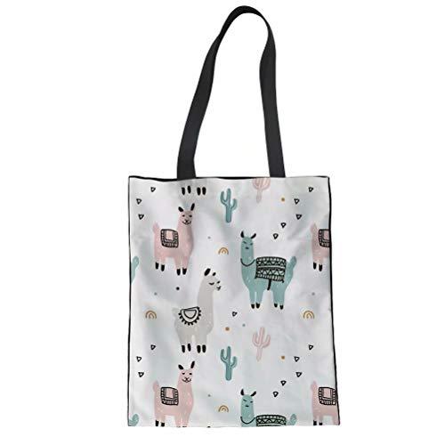 Print Canvas Shopper (POLERO Einkaufstasche Canvas Baumwolle Einkaufsbeutel Stoffbeutel Baumwollbeutel mit Alpaka und Kaktus Print für Mädchen Damen Alltag)