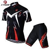 X-TIGER da Ciclismo Maglietta Manica Corta da Uomo + 5D Gel Pantaloncini Corti Imbottiti Set di Abbigliamento Ciclista