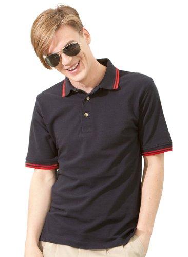 Modisches Piqué Poloshirt mit Kontraststreifen White/Navy