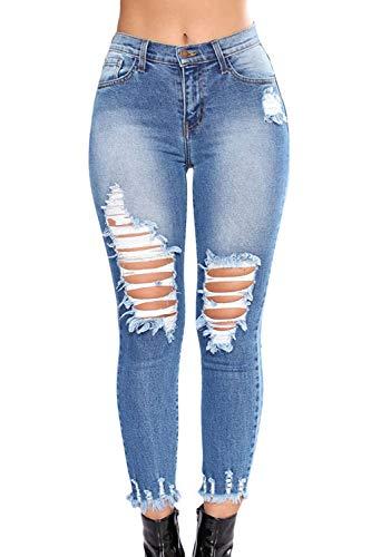 6d4ba249e2f Sevozimda Women Ripped Jeans Skinny Denim Pantalones Legging Pantalones  Borla Tobillo Azul XS