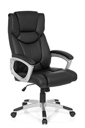 Bürostuhl Chefsessel RELAX CL130 Kunst-Leder Schwarz Ergonomischer Drehstuhl Schreibtisch-Stuhl Armlehnen Hohe Rücken-Lehne X-XL Büro-Sessel MyBuero 725007