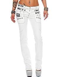 Cipo & Baxx Damen Jeans Hose Hüftjeans Skinny Regular Fit Stretch Weiß