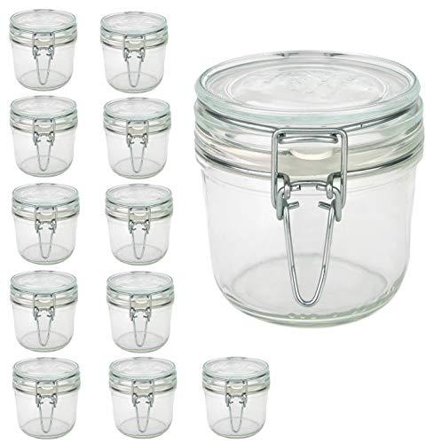 Bormioli Fido Gläser mit Bügelverschluss 12 teilig | Füllmenge 350 ml | Luftdichte Konservierung durch den Gummiring sowie den Drahtbügelverschluss