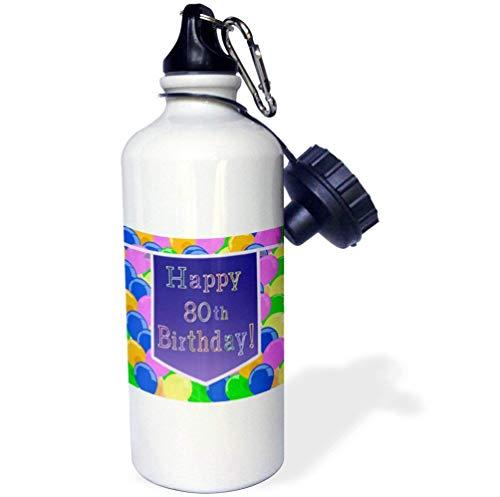 qidushop Luftballons mit violettem Banner Happy 80th Birthday Lustige Edelstahl-Sport-Trinkflasche für Damen Herren und Kinder, 535 ml
