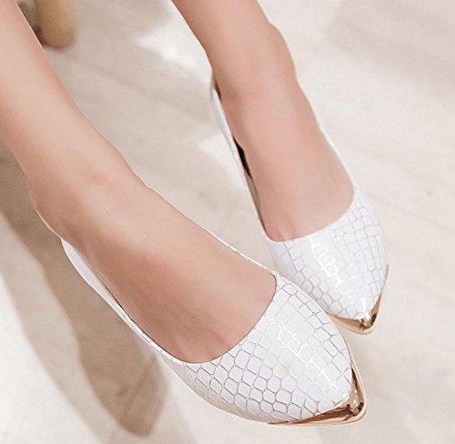 YCMDM Singles Chaussures Mode Casual plates Nouveau Printemps Automne Mode Blanc Bleu 34 35 36 37 38 39 white