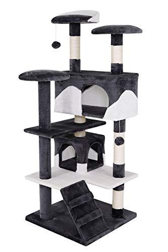 dibea KB00303 Kratzbaum - Kletterbaum für Katzen (Höhe 130 cm), grau/weiß