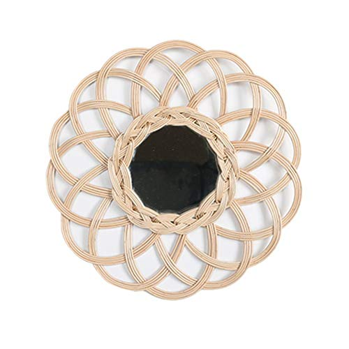 Espejo nórdico de Mimbre para Colgar en la Pared, Innovador Espejo de ratán para decoración | Espejo de Maquillaje de bambú Hecho a Mano para baño, Dormitorio, Sala de Estar