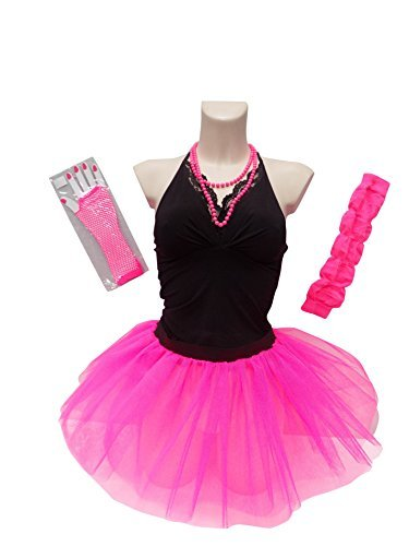 4 Layer Neon Tutu Skirt Set & Necklace - Standard for Plus Size