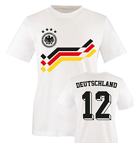 EM 2016 - RETRO-TRIKOT - DEUTSCHLAND - 12 - Kinder T-Shirt - Weiss / Schwarz-Rot-Gelb Gr. 152-164 (Valentinstag T-shirts Für Kinder)