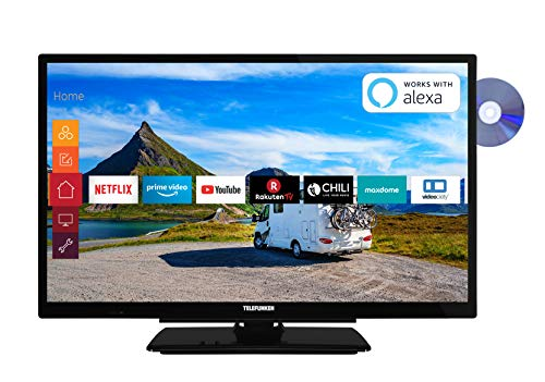 Telefunken XH24G501VD 61 cm (24 Zoll) Fernseher (HD-ready, Triple Tuner, Smart TV, Prime Video, DVD-Player integriert, 12 Volt) (Tv 24 Zoll Led)