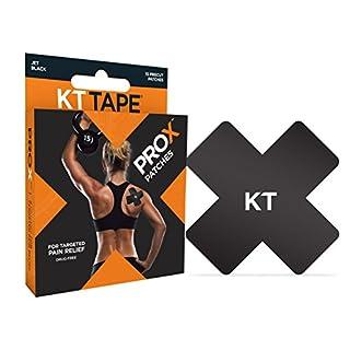 KT Tape Prox 15Patch prédécoupés synthétique Bande de kinésiologie, Noir de Jais