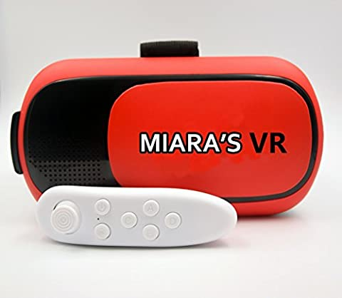 Vr Headset High Quality Compatible with Apple/Google Os/Red Color VR Holds 5.5 Inch Phones/ Adjustable (Eye Care)