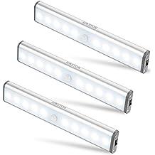 Moston 10 LED USB Recargable magnético Movimiento Sensor Luces nocturnas,oscuridad a amanecer Célula fotoeléctrica incluido Auto en/apagado Portátil Sin cable,palo en cualquier sitio para armario Armario.(Pack de 3,plateado)