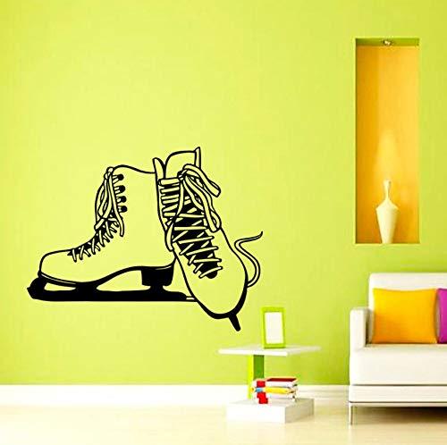 Schlittschuhe silhouette wandaufkleber eislaufen sport home decor diy vinyl entfernbaren klebstoff wandtattoos kinderzimmer 49x62 cm