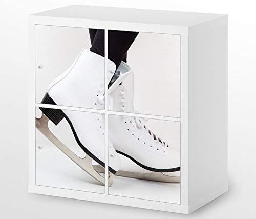 Set Möbelaufkleber für Ikea Kallax 4 Fächer/Schubladen Eislauf Eis Schuhe Tanz Kat8 Sport Aufkleber Möbelfolie sticker (Ohne Möbel) Folie 25H323 (Schuh Ikea Schublade)
