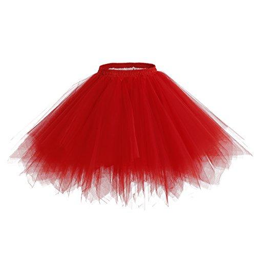bridesmay Tutu Damenrock Tüllrock 50er Kurz Ballet Tanzkleid Unterkleid Cosplay Crinoline Petticoat für Rockabilly Kleid Red ()
