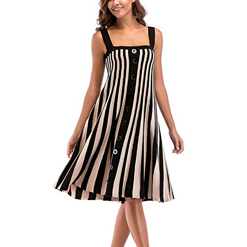 YCLOTH Damenkleid, Gestreiftes Strickkleid Ärmellos Großer Swingrock Damenbekleidung, Abendparty Cocktai Hochzeit-1-L -