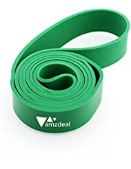 Amzdeal Bande élastique de Résistance en Caoutchouc pour Exercices boucle Fitness Gyms maison 208CM X 4.5CM X 4.5MM 50-125 lbs Vert