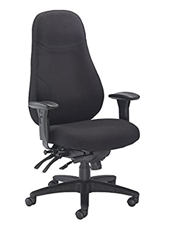 Office Hippo 24 Hour High Back Office Chair with Arms, Fabric - Black