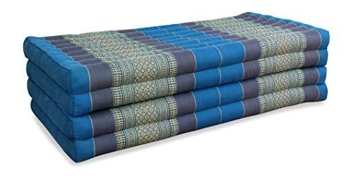 Asia Wohnstudio Kissen Klappmatratze extrabreit (195cm x 110cm) aus Kapok, faltbare Gästematratze, klappbare Matratze, asiatische Faltmatratze (hellblau)