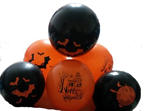100 Halloween bedruckt-Luft-Ballons schwarz-orange EU Ware kein billige China Ware