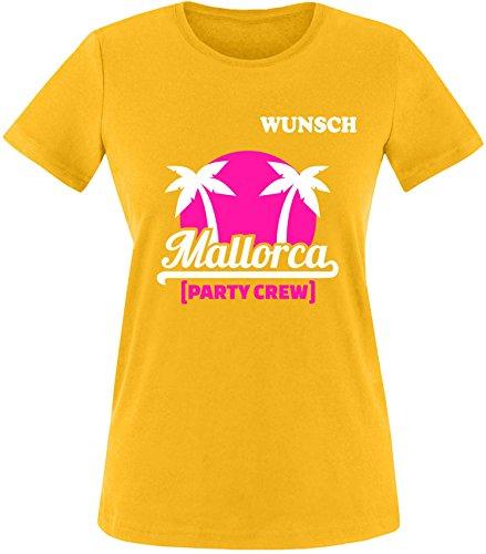EZYshirt® Mallorca Party-Crew | Wunschname | Damen & Herren Rundhals T-Shirt Damen/Gelb/Weiß/Pink