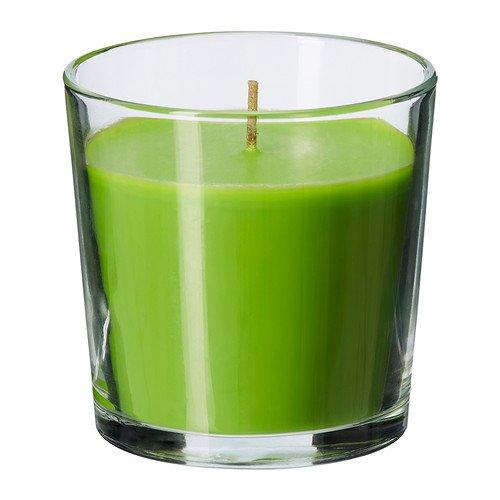 ikea-sinnlig-vela-aromatica-en-portavelas-de-cristal-aroma-a-manzana-color-verde-vela