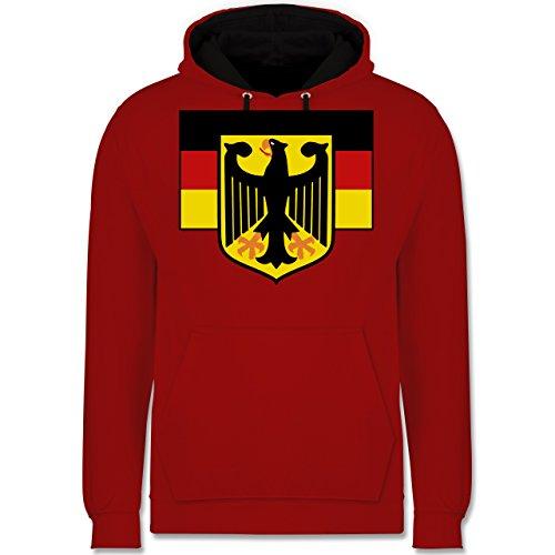 Länder - Deutschland Flagge mit Adler - Kontrast Hoodie Rot/Schwarz