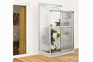 Pergart Vitavia Ida 900 Serre de jardin adossée en aluminium anodisé avec paroi 4 mm et 1 lucarne Surface : env. 0,9 m² Dimensions : 132 x 69 cm et base 130 x 65 cm