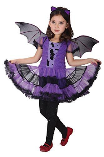 DEMU Kinder Mädchen Vampir Fledermaus Kostüm Halloween Flügel Kleid Fasching (Medium)